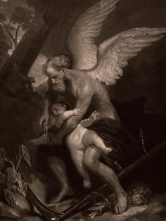 Time clipping the wings of Love by James McArdell after Anthony Van Dyck, Arte Horror, Horror Art, Anthony Van Dyck, Les Fables, Arte Obscura, Ange Demon, Occult Art, Angel Art, Renaissance Art