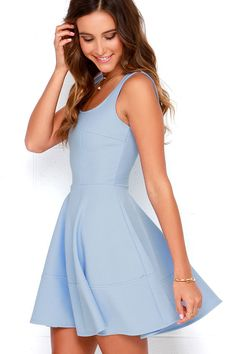 Whether you're home by curfew or keep the party going all night, the Home Before Daylight Periwinkle Dress is the perfect party companion! Knit tank straps support a stunning bodice with a sexy square neckline, scoop back, and unique seaming in front. The fun continues with a fit and flare style, thanks to a full circle skirt that's begging for a twirl. Exposed brass zipper.