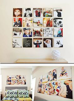 like these wall displays - totally see doing this with our Disney photos through the years! Photowall Ideas, Family Pictures On Wall, Wall Collage, Wall Art, Canvas Collage, Canvas Prints, Photo Arrangement, Photo Grouping, Wall Groupings