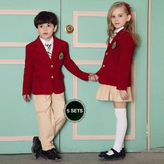 74dd15b0984b3 British American Spring winter school uniform for girls boys kids jacket  skirt baby girl clothes children clothing
