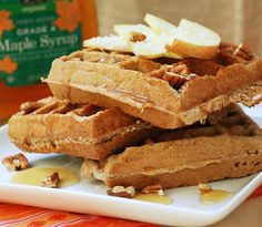 Apple coconut waffles. Yum!  I was lazy and used 1/2 cup unsweetened applesauce instead of the fresh apple and they came out moist and tasty.  The coconut adds nice texture.  Definitely making these again.