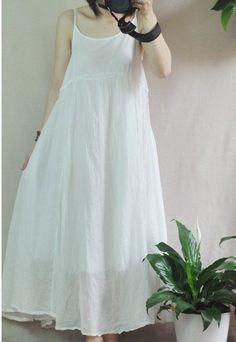 White/Orange Women Dress Cotton Dress Summer by fashiondress6, $85.00