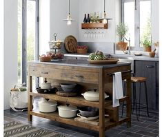 Reclaimed Wood Kitchen Island: Substantial and well crafted, this marble-topped . Reclaimed Wood Kitchen Island: Substantial and well crafted, this marble-topped table is crafted from reclaimed pine with a wax finish. Farmhouse Style Kitchen, Home Decor Kitchen, Kitchen Furniture, New Kitchen, Kitchen Ideas, Kitchen Decorations, Kitchen Shop, Kitchen Designs, Kitchen Rustic