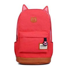 Campus Girl Women Cartoon Cat Ear Shoulder Bag Backpack Schoolbag Men Canvas Backpacks Travel Hiking Bags Rucksack