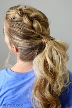 dutch braid mohawk ponytail. super easy and a great tutorial. Love this!