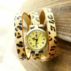 546a816ca1a Vintage Fashionable 3 Colors Genuine Leather Leopard Strap Roma Header For  Women Girls Quartz Watch