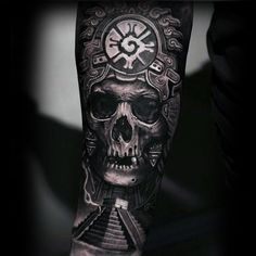 3d Amazing Guys Mayan Hunab Ku With Skull Guys Forearm Sleeve Tattoo