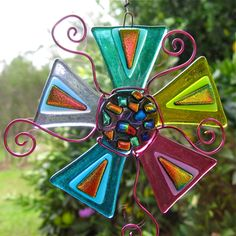 Dichroic Suncatcher Fabulous Rainbow Flower