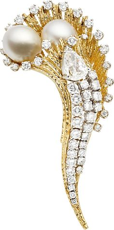 Estate Jewelry:Brooches - Pins, South Sea Cultured Pearl, Diamond, Gold Brooch... Image #1