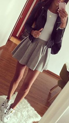 #fall #outfits · Leather J acket // White Bodysuit // Grey Skirt // White Sneakers