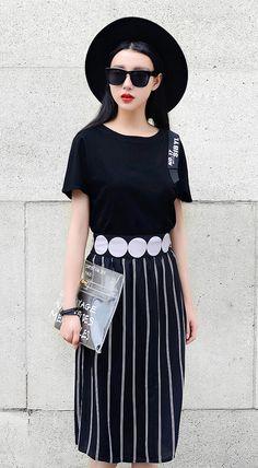 Fashiontroy  Unique fashion short sleeves crew neck black cutout letter printed cotton blend T-shirt