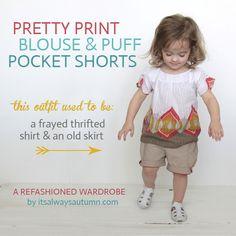 pretty print blouse & puff pocket shorts {a refashionedwardrobe} - itsalwaysautumn - its always autumn