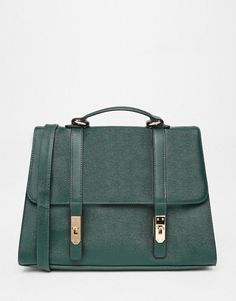 ASOS | ASOS Smart Satchel Bag With Metal Flap Detail at ASOS