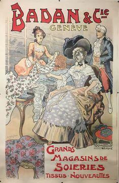 GENÈVE BADAN & Cie Affiches ATAR Genève signé A. Gautschi Comic Books, Comics, Movie Posters, Advertising, Fabrics, Shops, Switzerland, Cards, Fashion Styles