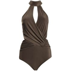 Boohoo Esme Halter Neck Plunge Slinky Body ($26) ❤ liked on Polyvore featuring tops, bodysuit, body, swimwear, lacy cami, lace camisole, lacy camisole, brown camisole and sequin camisole