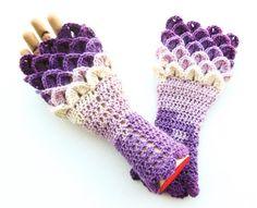 Dragon Scale Fingerless Gloves  Crocodile Stitch by ArtistBeeBee