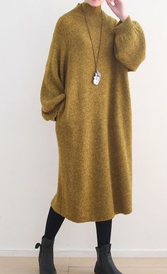 stylish yellow sweater dress oversized high neck spring dress women Puff Sleeve pockets winter dresses - New In Long Sweater Dress, Sweater Dress Outfit, Knit Dress, Dress Outfits, Fashion Dresses, Knit Fashion, Sweater Fashion, Look Fashion, Outfits Winter