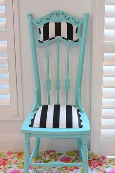 Thrift store find, paint and fabric. #PaintedChair