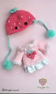 kawaii cute strawberry sweater for Lati par PrettyDollStore