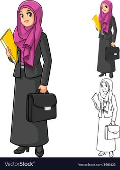 Muslim Businesswoman Wearing Fuchsia Veil or Scarf vector image on VectorStock Butterfly Wallpaper Iphone, Flower Wallpaper, Muslim Girls, Muslim Women, Doctor Drawing, Hijab Drawing, Business Pictures, Islamic Cartoon, Poster Background Design
