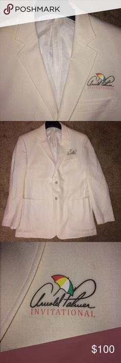 White Arnold Palmer Invitational Blazer White blazer with notched lapels, a front pocket, 2 pockets on the side, and 2 buttons. It is from the Arnold Palmer Invitational. Size small Arnold Palmer Suits & Blazers Sport Coats & Blazers