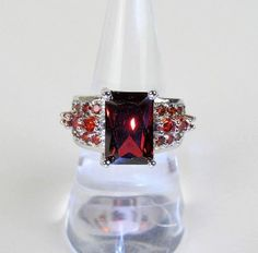 925 Sterling Silver Ring Size 8 Large Emerald-Cut Red Crystal Stone Sparkling  #Unbranded #Statement