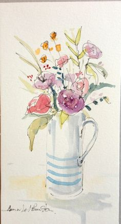 Original Water Colour and ink Painting 'Blue Striped Jug'. Signed.