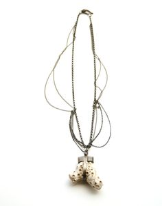 White coral necklace by Karen Gilbert, with oxidized sterling silver. Gallery Lulo.