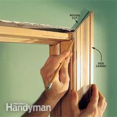 We show you how to make crisp, sharp corners and tight joints when installing interior door trim, window trim and a three-piece baseboard. With a few basic carpentry Basic Carpentry Tools, Trim Carpentry, Woodworking Projects, Diy Interior Doors, Interior Trim, Interior Staircase, Interior Design, Door Casing, Window Casing