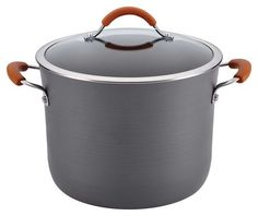 Rachael Ray - Cucina 10-Quart Covered Stockpot - Gray/Pumpkin Orange