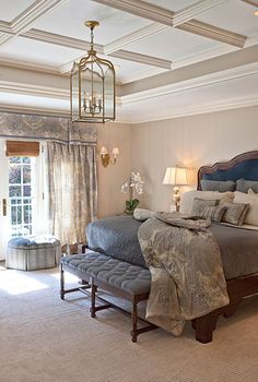 Traditional Master Bedroom -  coffered tray ceiling