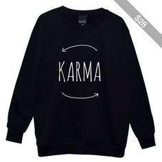 Karma Boyfriend Oversized Sweater Jumper Womens Ladies Fun Tumblr Hipster Fashion Grunge Punk Retro
