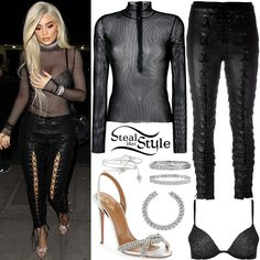 kylie jenner black mesh top, lace-up pants