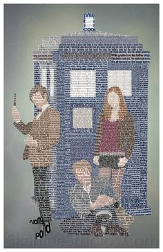 The TARDIS, The Doctor, Amy and Rory made of Quotes from Doctor Who