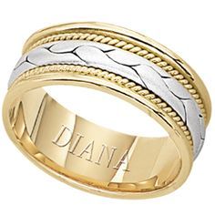 7.5mm hand woven comfort fit wedding band with platinum center from Diana