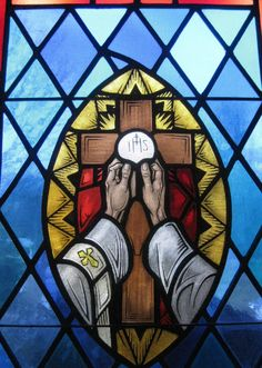 Catholic Priest Holy Eucharist Stained Glass Church, Stained Glass Art, Stained Glass Windows, Religious Images, Religious Art, Jesus Painting, Church Windows, Christian Symbols, Glass Photo