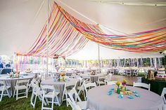 Outdoor Wedding with Bright Color Palette photographed by Life & Love Studio coordinated by Megan Martin with flowers by Conservatorie Floral & Event Design Party Tent Decorations, Diy Party Tent, Diy Tent, Indian Wedding Decorations, Tablecloth Decorations, Party Party, Wedding Centerpieces, Hanging Tent, Shower Tent