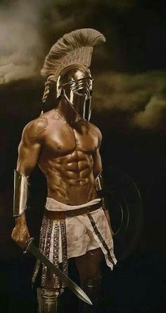 Male Body Art, Male Face, We Are The Heroes, Warrior Images, Warrior Drawing, Warrior Costume, Greek Warrior, Spartan Warrior, Real Anime