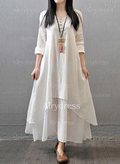 Pamuk Keten Maksi Son Moda Uzun kollu Katı Elbiseler (1163079) @