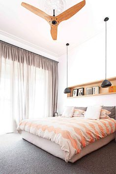 Jan15-window-treatments-modern-bedroom-sheer-curtains-ceiling-fan-hanging pendant lights