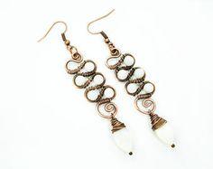 Wedding earrings, white earrings, wrap earrings, copper wire earrings, wire wrap