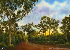 LOOKING BACK - Another watercolour from 2004. A country road out near #Toodyay in Western Australia ... See my paintings for sale at www.bit.ly/shop-mh ... #watercolorpainting #watercolourpainting #watercolour #watercolor #painting #landscapepainting #landscape #artist #landscapeart #australianlandscape #australianlandscapepainting #australianlandscapes #in #instagramart #trees #beautiful #contemporarypainting #worldofartists #galleries  #artstudio #australianart #australianartist #sunset…