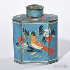 Paint-decorated Tin Tea Caddy