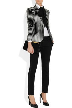 Saint Laurent striped glossed rayure-effect blazer.I seem to be liking the str Saint Laurent striped glossed rayure-effect blazer.I seem to be liking the str. Business Casual Dresscode, Business Outfit Frau, Business Outfits, Business Attire, Office Outfits, Business Fashion, Office Fashion, Work Fashion, Fashion Outfits