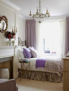 With such rich details and elegant finishes, the narrowness of this beautiful bedroom becomes an afterthought. Ample window treatments, a flowing bed skirt, and gilded finishes all give the room presence, beyond its diminutive size. http://www.bhg.com/rooms/bedroom/master-bedroom/25-of-our-favorite-real-life-bedrooms-/?socsrc=bhgpin032115smallcozybedroom&page=38