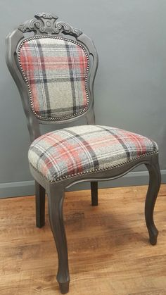 French style chair upholstered using Abraham Moon 100% wool fabric and painted using Annie Sloan Graphite chalk paint by Love Restored.
