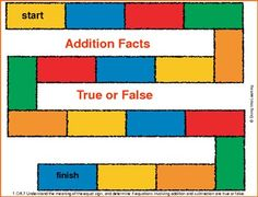 A fun and free game to practice true/false addition facts! Great to use for math centers!