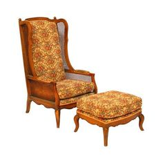 Needs new upholstery!  Regency Cane High Wingback Chair and Ottoman