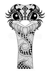 Hand drawn zentangle ostrich for coloring page,logo, t shirt design effect and tattoo