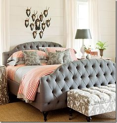 Lovely grey and coral bedroom with white walls and tufted bed. Southern Livings 2012 Idea House#Repin By:Pinterest++ for iPad#